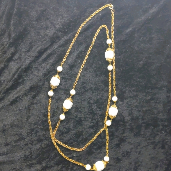Vintage brass and white bead 58 inch necklace